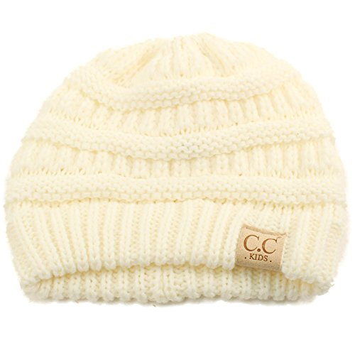 Kids Ages 2-7 Warm Chunky Thick Stretchy Knit Slouch Beanie Skull Hat Ivory