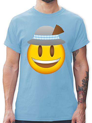 Oktoberfest Herren - Oktoberfest Emoticon mit Hut - S - Hellblau - Rundhals - L190 - Tshirt Herren und Männer T-Shirts