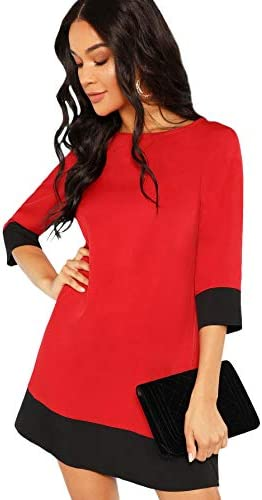 Floerns Women s 3 4 Sleeve Color Block Shift Tunic Dress A Red XL product image