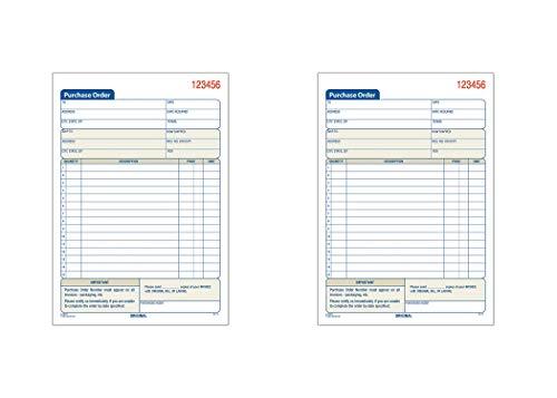 Adams Libro de pedido de compra, 2 piezas, sin carbón, blanco/canario, 5-9/16 x 8-7/16 pulgadas, 50 juegos (DC5831), 2 unidades
