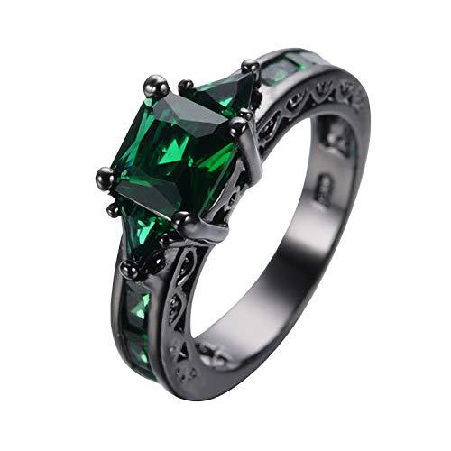 Janly Clearance Sale Anillos para mujer, magníficos anillos de aleación de cobre negro incrustados con circonitas cuadradas, regalo de cumpleaños para damas niñas (verde-8)