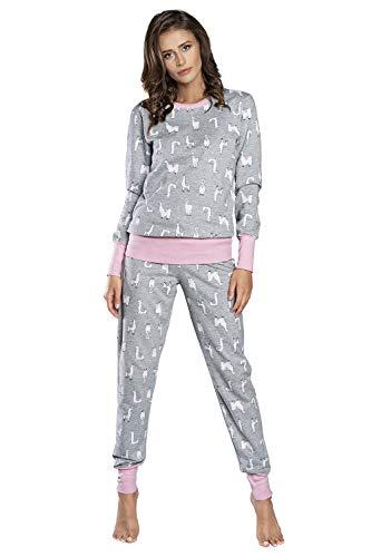 Italian Fashion IF Pigiama da Donna in Cotone. Maglietta e Pantaloni Comodi per Dormire. Biancheria Intima a Due Pezzi per Tutti i Giorni.