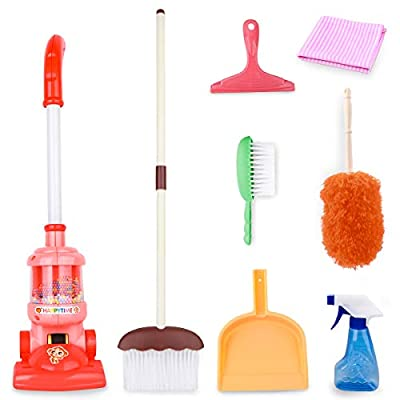 Meland Kids Cleaning Set - 8Pcs Toddler Broom and Cleaning Set with Toy Vacuum Cleaner, Pretend Play Children House Cleaning Toys, Christmas Birthday Gift for Girls Boys by Meland