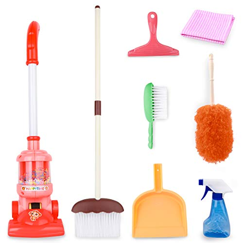 Meland Kids Cleaning Set - 8Pcs Toddler Broom and Cleaning Set with Toy Vacuum Cleaner, Pretend Play Children House Cleaning Toys, Christmas Birthday Gift for Girls Boys