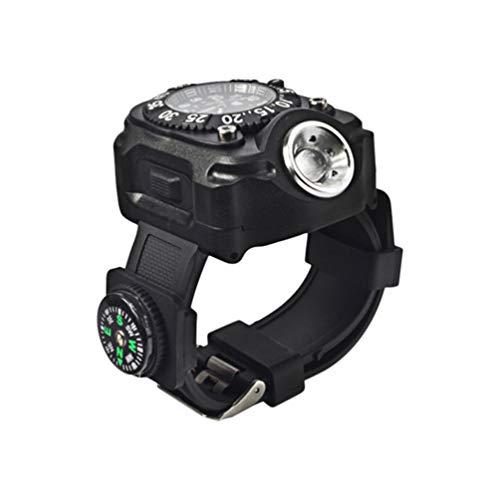 Hemobllo Taschenlampe Uhr wiederaufladbare LED Handgelenk Licht Taschenlampe mit Kompass für Outdoor-Laufen Wandern Camping