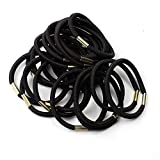 Xiton Elastique cheveux bandes noires Elastiques cheveux 50 pièces solides liens de cheveux cheveux épais Elastique pour les femmes titulaires métalliques Ponytail Bandes de cheveux (4 mm Noir)