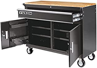 46 in. Mobile Storage Cabinet with Wood Top Tool Cart Workbench