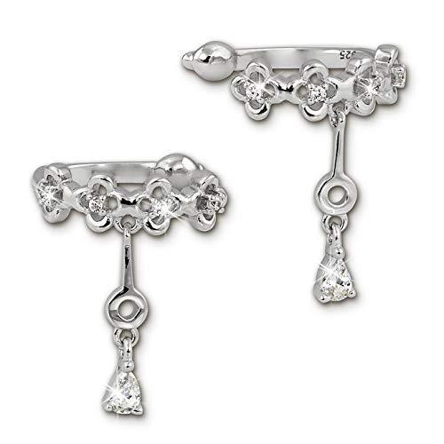 SilberDream GSO436W - Orecchini a clip a forma di fiore, con zirconi, in argento 925