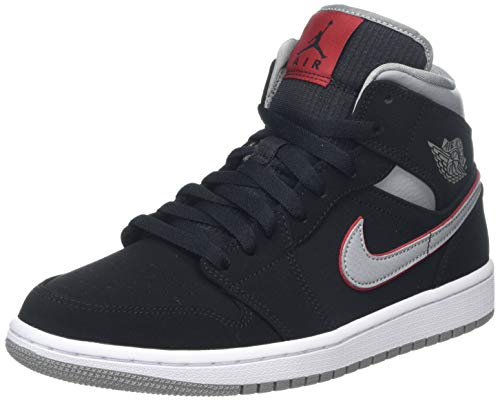 Nike Herren AIR Jordan 1 MID Basketballschuhe, Schwarz (Black/Particle Grey/White/Gym Red 060), 41 EU