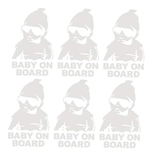 Odoukey BABYONBOARD Parachoques Divertida Pegatina Reflectante para el Ordenador portátil del Coche de la Ventana del automóvil Decoración de Plata