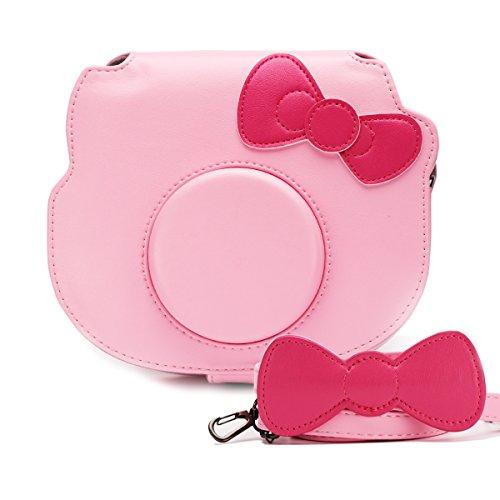 HelloHelio Mini Hello Kitty Instant Camera Case for Fujifilm Instax Cameras, [Exact-Fit] Pink Kitty Bowknot Bag for INS Mini KIT CHEKI Camera (2014-2019) – Pink
