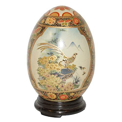 Satsuma Egg with Pheasants with Wood Stand
