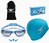 KUDAWAVE 3 in 1 Swimming Goggles   Swimming Cap for Men/Women   Anti-Fog UV Protection Mirrored Wide Vision   Ear Plugs   Adult Swim Goggles   Teens/Kids Swim Googles   Swimming Glasses