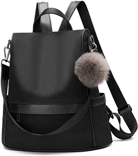 NUKAICHAU Girls Fashion Backpack Cute Mini Pu Leather Black Backpack Purse for Women- B6005_Black