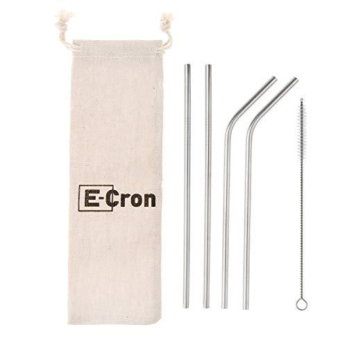 4 x pajitas E-Cron rectas/curvadas de acero inoxidable de gr