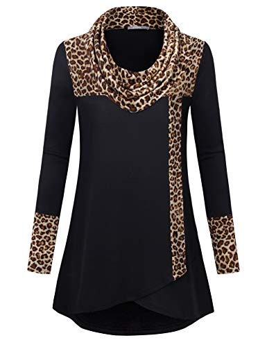 Furnex Long Tunic Tops To Wear With Legging,Winter Sweater Fashion Ladies Leopard Printed Ugly Christmas Sweatshirt Long Sleeve Cowl Neck Flare Dressy Shirts Loose Cotton Color Block Work Blouses