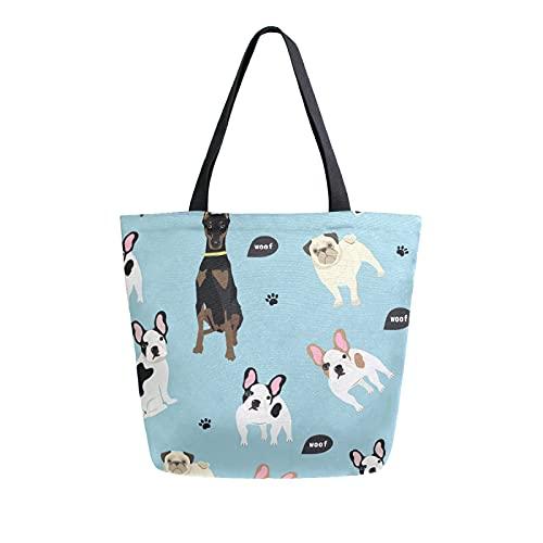 LUCKYEAH - Bolsa de lona para mujer con estampado de huellas de perros de dibujos animados, bolsa de hombro grande, reutilizable, bolsa de compras para niñas y mujeres