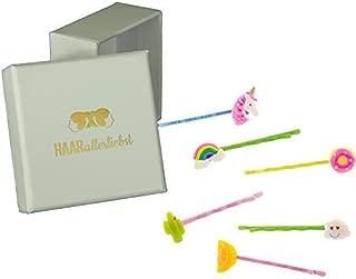 Pinzas de pelo, de 6piezas Bobby Pins Juego Unicornio, Arco Iris, donut, Cactus, Wolke y limón Parabrisas para niños en caja blanca de pelo todos los liebst