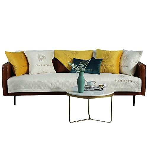 YUTJK Sofá Fundas Antideslizante,Fundas de sofá,Protector de Muebles,Lanzar Juegos de Funda de cojín Estar,Vendido en Pedazos,Funda de sofá de Felpa para sofá de Cuero-Blanco_110×240cm