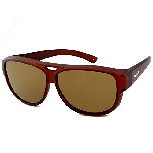 ActiveSol Design ÜBERZIEH-SONNENBRILLE | Flieger Brille | Sonnen-Überbrille UV400 Schutz | polarisiert | 24 Gramm (Brown)