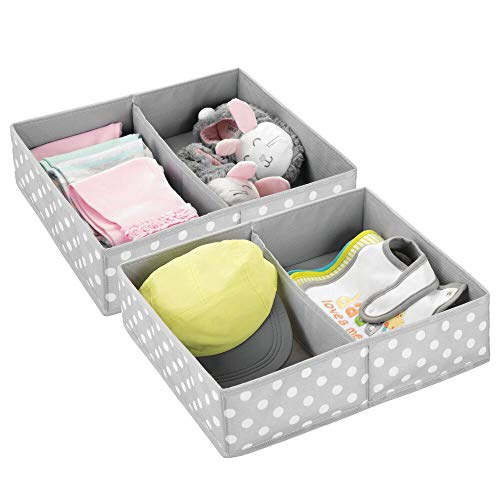 mDesign Juego de 2 Cajas de almacenaje para Habitaciones Infantiles o baños – Cestas organizadoras en Fibra sintética de Lunares –...