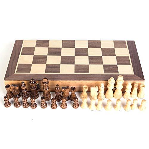 tanbea-ES Juego de ajedrez de Madera Juego de Damas de ajedrez de Madera magnética Juego de Mesa de ajedrez Plegable portátil para niños y Adultos elección cumpleaños Enhanced