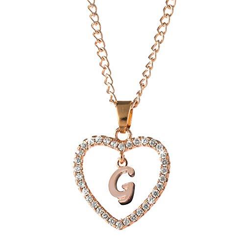 Hunpta - Collar con colgante de corazón con circonita cúbica y colgante personalizable para cumpleaños, Navidad