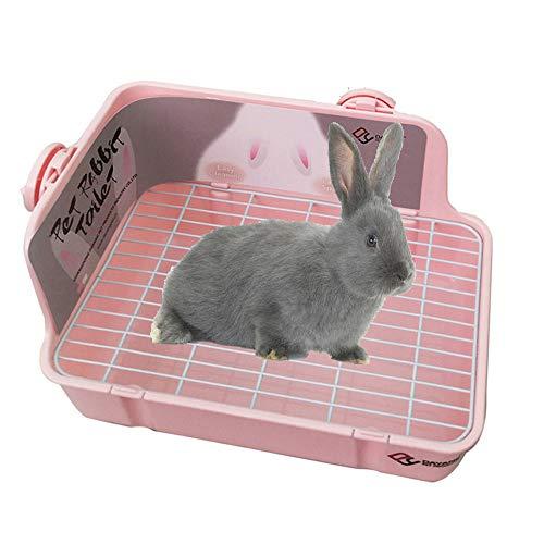 N\C Caja de arena de conejo, caja de cama esquinera, inodoro para mascotas para animales pequeños, conejo, cobayas, chinchilla, hurones, galesaur, 11.02 pulgadas (rosa)