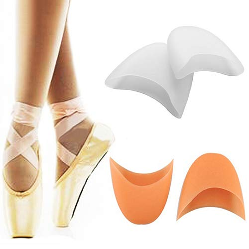 Acamifashion Women's Girl's Professional Soft Ballet Pointe Silicone Gel Toe Dance Shoe Pads - White