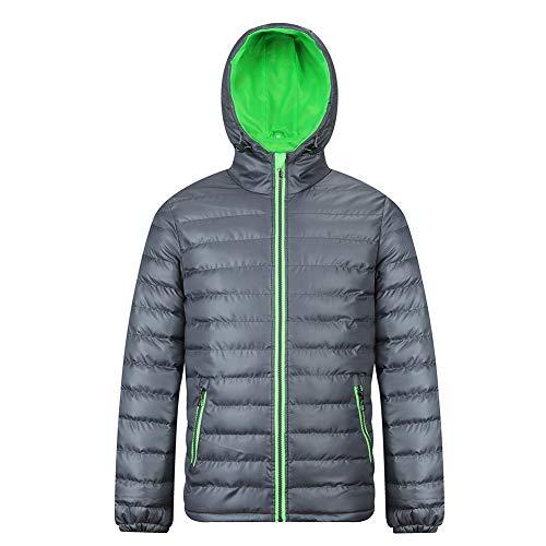 Men's Hooded Puffer Jacket Winter Coats Stand Collar Outwear Cotton Warm Parka Grey Green L
