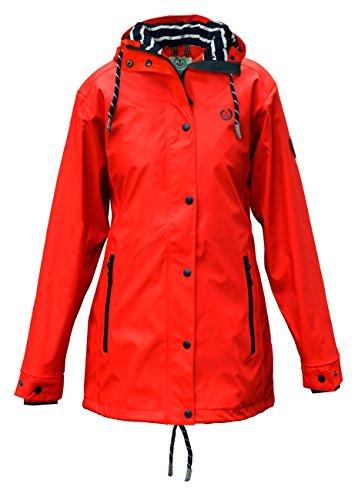 MADSea Damen Regenmantel Friesennerz rot wasserdicht, Farbe:rot, Größe:40