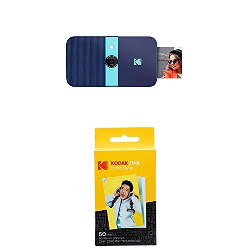 KODAK Smile Cámara Digital de impresión instantánea, Azul + Paquete de 50 Hojas