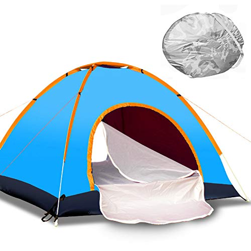 GLXQIJ Camping Tents for Family 2-4 Person,Waterproof Double Layer Dome Automatic Pop Up Tent,Ultralight Backpacking Hiking Tent,Blue,4People