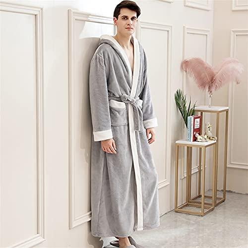 Mujeres Plus Tamaño Largo Flannel Albornoz Kimono Robas Cálidas Vestido Vestido Hombres Ropa de dormir (Color : Men Hood Light Grey, Size : Medium)