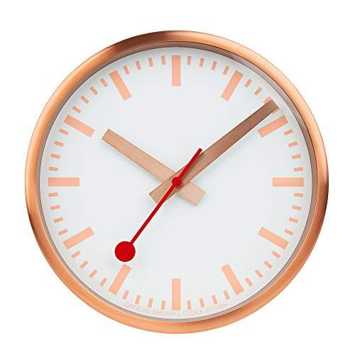 Mondaine Wanduhr - Kupfer Bahnhofsuhr - Edelstahl, A990.Clock.17SBK, 25 cm