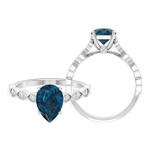Anillo solitario de topacio azul Londres de 2,75 quilates con piedra lateral de moissanita, anillo de compromiso (7 x 10 mm, talla pera, 14K Oro blanco, topacio azul - london, Size:EU 65