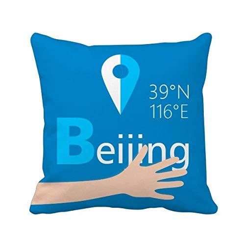 Butlerame Coordinate geografiche di Pechino Cuscino da Viaggio a Mano Copertura Quadrata per Cuscino 20x20 Pollici