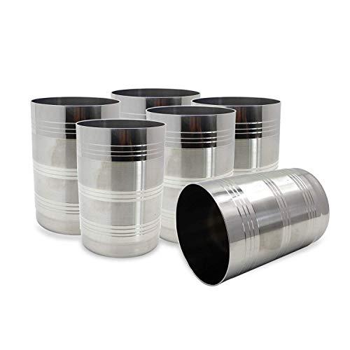 Vasos de pinta de acero inoxidable de grado premium Vasos de agua (6 piezas) Vasos de cerveza irrompibles y refrigerantes, para viajes, al aire libre, camping, todos los días, 300 ml