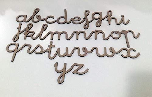 72 letras minúsculas de madera DM. Abecedario minúsculas tipo de letra escolar
