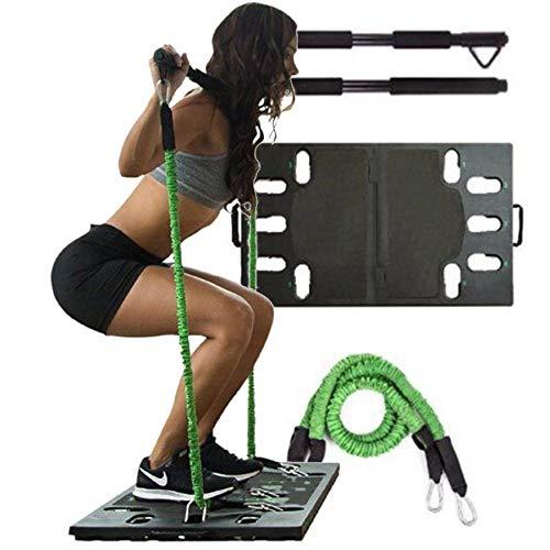 XLanY Multifuncional Home Gym Balance Board Dispositivo de Entrenamiento Juego de Cuerdas para Tirar, Body Building Push Up Training Board con Banda de Resistencia