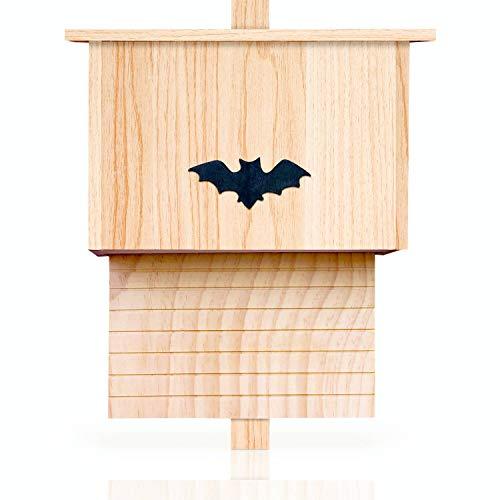 deintierhaus.de© | Großes Fledermaushaus aus Massiv-Holz - Nistkasten für Fledermäuse - unbehandelt, wetterfest & fertig montiert - Fledermauskasten zum Aufhängen | 42 x 29 x 21 cm