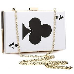 EROUGE Acrylic Evening Clutch Women Designer Handbag Poker Shape Purse, White from