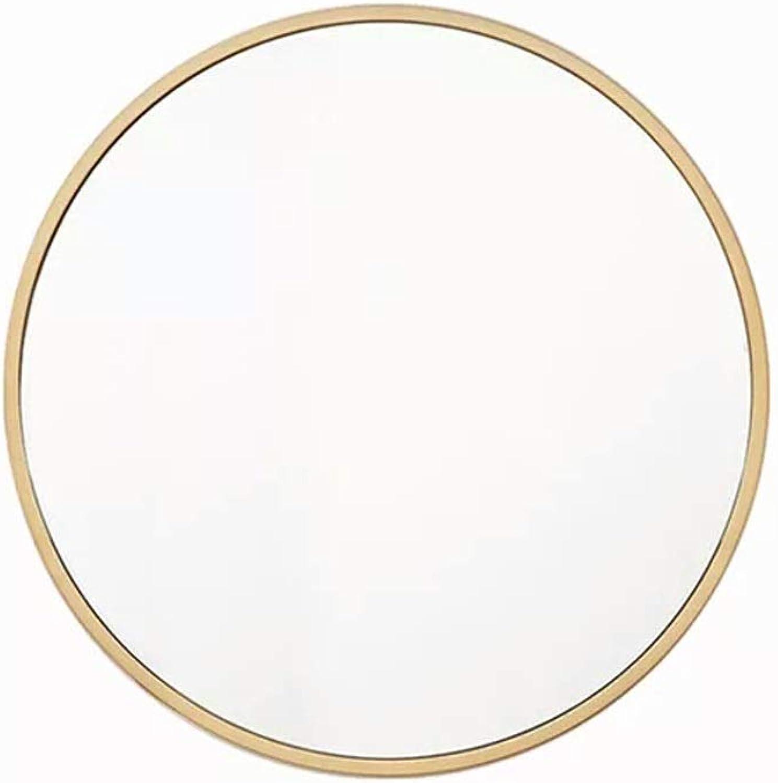 YYHSND Round Mirror 30-60 cm Wall-Mounted Mirror Wall-Mounted Mirror Bedroom Bathroom Living Room and Entrance Metal Frame Vanity Mirror gold Wall Mirror (Size   Diameter-30cm)