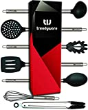 Kitchen Utensil Set - Non-Scratch, Silicone, Stainless Steel - Safe for Non-Stick Pots, Pans,...