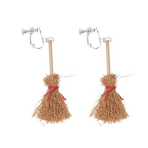 Amosfun Halloween Witch Broom Earrings Halloween Wooden Horror Party Cosplay Earrings for Women Girls M Clip on earrings