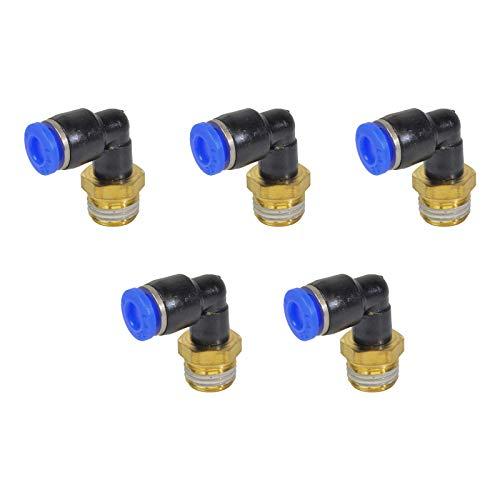 5 piezas de tubo de 6 mm OD x G1/4 pulgadas macho de rosca para conectar accesorios, conectores neumáticos de liberación rápida.