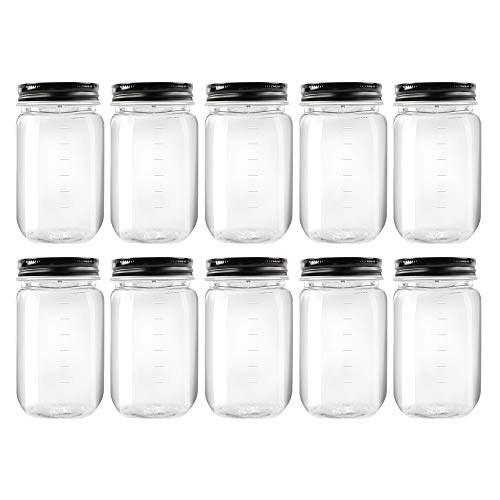 Novelinks 16 Ounce Clear Plastic Jars with Black Lids - Refillable Round Clear Containers Clear Jars Storage Containers for Kitchen Household Storage - BPA Free 10 Pack