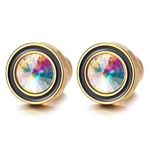 Color Oro Círculo Pendientes con Arco iris Circonio Cúbico y Esmalte Negro, Acero Enchufe Falso Fake Cheater Plugs