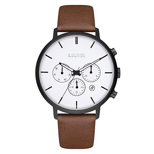 s.Oliver Time Herren Analog Quarz Uhr mit Kunstleder Armband SO-4167-LM