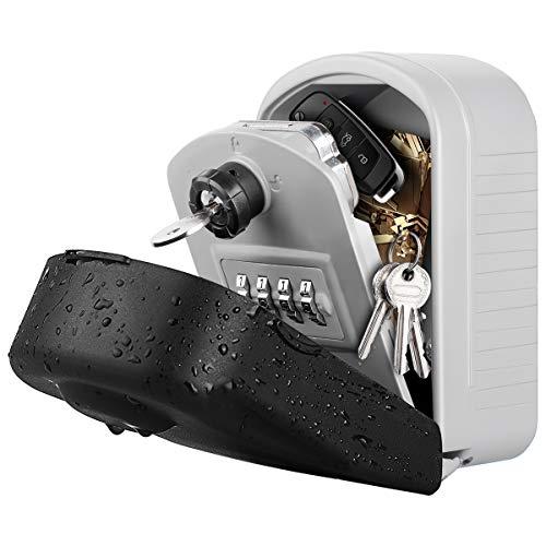 [Neue Generation] Schlüsseltresor, WACCET Schluesselkasten mit Zahlencode Schlüsseltresor Groß Wandmontage Schlüsselsafe für Außen Innen Auto Garage Home (grau)
